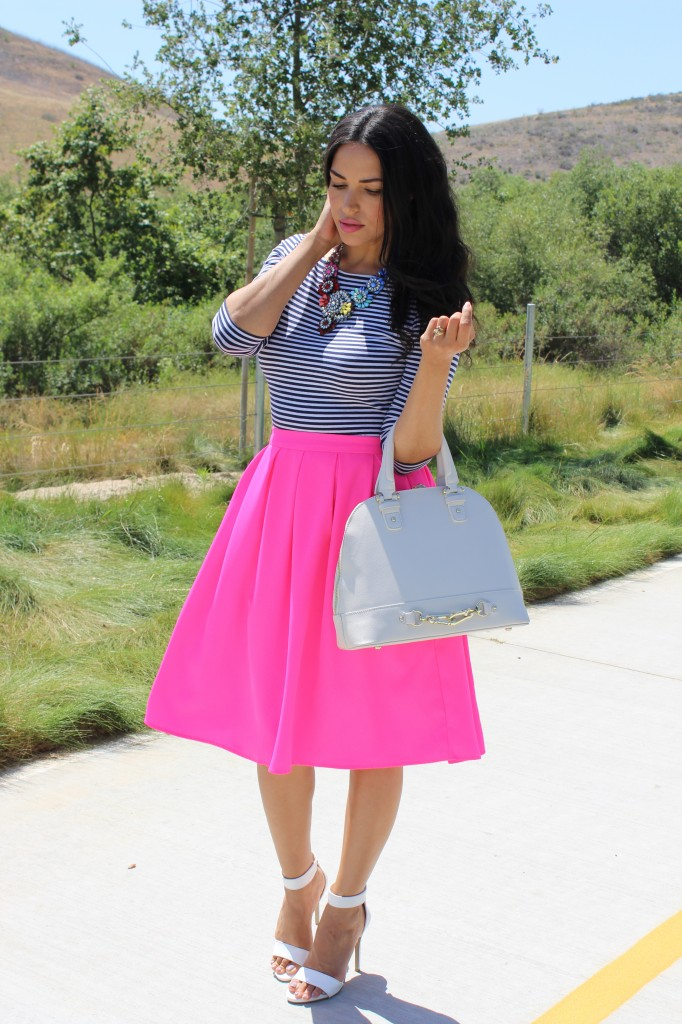 Easy Stripes & A Hot Pink Midi