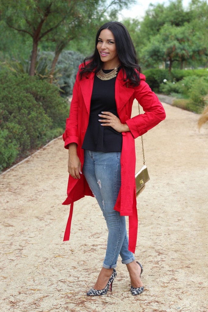 A Red Trench & A Pop of Leopard