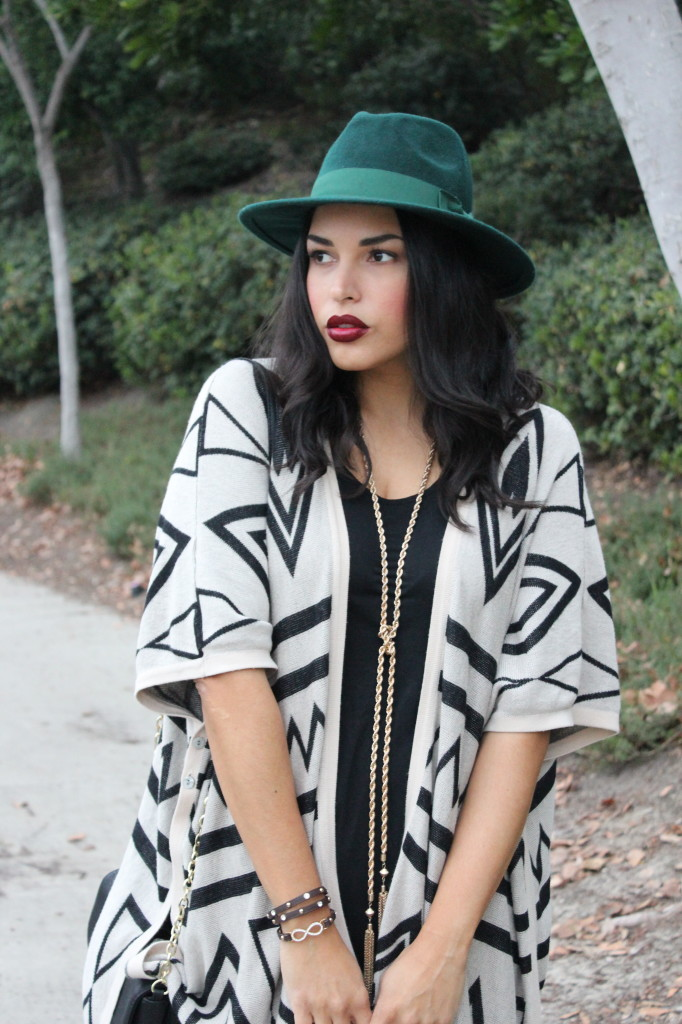 Tribal Poncho & Emerald Panama Hat