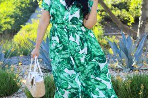 Green tropical dress & natural accents