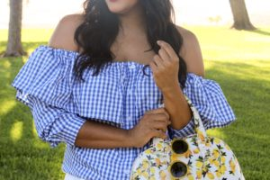 Blue Gingham & Lemon Prints