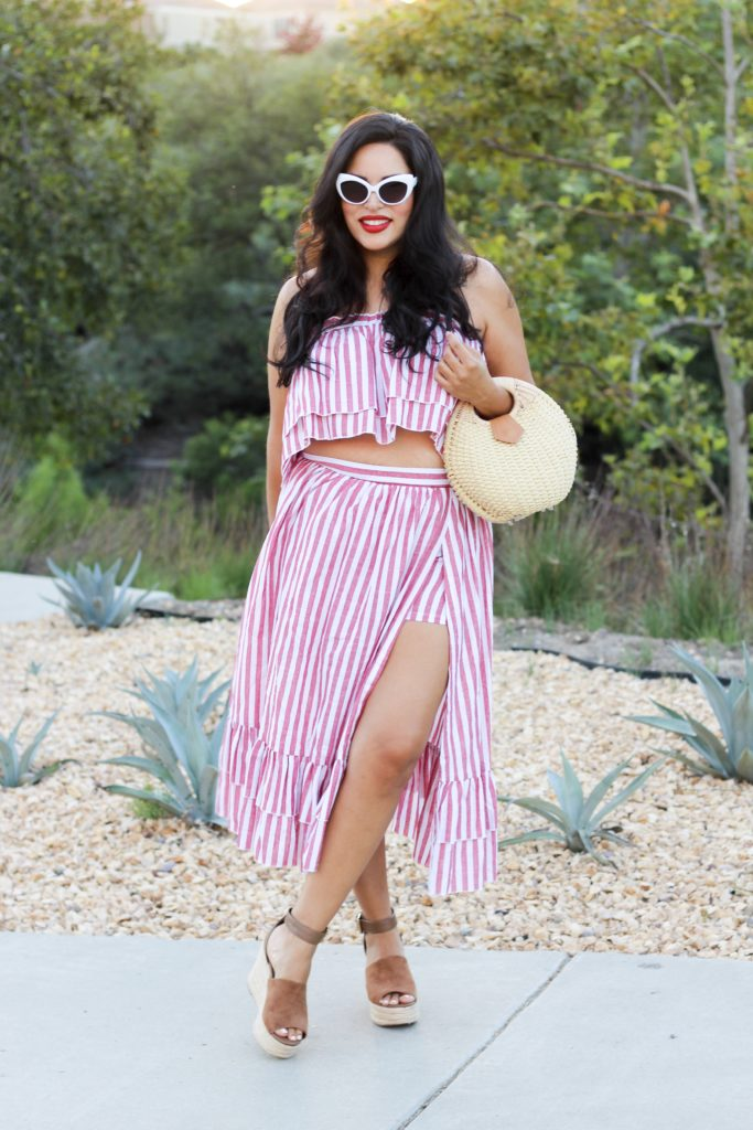 Striped Two piece & Estée Lauder red lipstick